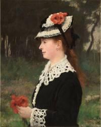 La dame aux coquelicots, Mme Marie Porcher, première femme de l'artiste (Roll Alfred) - Muzeo.com