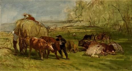 La fenaison en Auvergne ; esquisse, premier projet du tableau de 1855 (Rosa Bonheur) - Muzeo.com