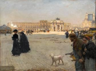 La Place du Carrousel : ruines des Tuileries en 1882 (Giuseppe de Nittis) - Muzeo.com