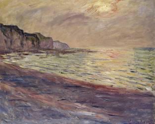 La plage à Pourville, soleil couchant (Claude Monet) - Muzeo.com