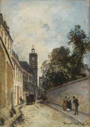 La Rue de l'Abbé-de-l'Epée et l'église Saint-Jacques-du-Haut-Pas à Paris (Johan Barthold Jongkind) - Muzeo.com