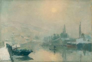 La Seine et l'île Lacroix à Rouen en hiver (Lebourg Albert) - Muzeo.com
