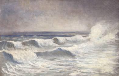 La vague à Dielette (Alphonse Osbert) - Muzeo.com