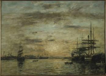 Le bassin de l'Eure au Havre (Eugène Boudin) - Muzeo.com