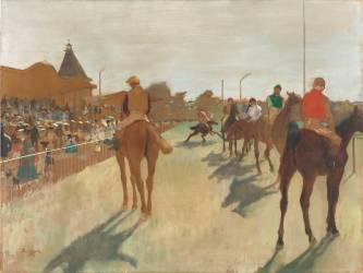 Le Défilé, dit aussi Chevaux de course devant les tribunes (Edgar Degas) - Muzeo.com