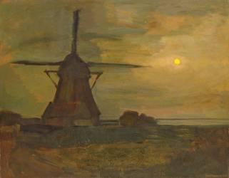 Le moulin de Oostzijdse au clair de lune (Mondrian Piet) - Muzeo.com