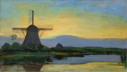 Le moulin de Oostzijdse, ciel bleu, jaune et violet (Mondrian Piet) - Muzeo.com