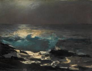 Le Phare de Wood Island au clair de lune (Winslow Homer) - Muzeo.com