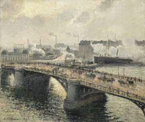 Le Pont Boïeldieu à Rouen, soleil couchant, temps brumeux (Pissarro Camille) - Muzeo.com