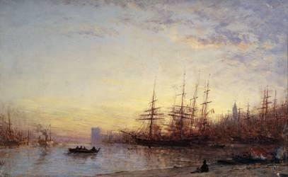 Le port de Marseille au coucher du soleil (Félix Ziem) - Muzeo.com