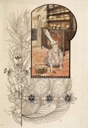 Le rêve : fillette lavant le sol d'une cuisine (Schwabe Carlos) - Muzeo.com