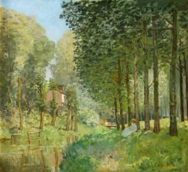 Le repos au bord du ruisseau. Lisière de bois (Alfred Sisley) - Muzeo.com