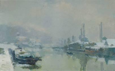 L'île Lacroix sous la neige (Lebourg Albert) - Muzeo.com