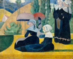 Les bretonnes aux ombrelles (Bernard Emile) - Muzeo.com