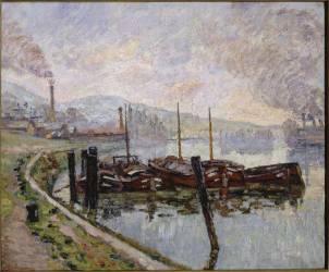 Les péniches. Rouen, la Seine, le matin (Guillaumin Armand) - Muzeo.com
