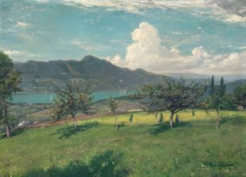 Les pommiers en Savoie ; vue du lac du Bourget (Carolus-Duran) - Muzeo.com