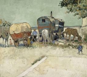 Les roulottes, campement de bohémiens aux environs d'Arles (Van Gogh Vincent) - Muzeo.com