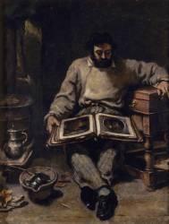 Marc Trapadoux examinant un livre d'estampes/gravures (Courbet Gustave) - Muzeo.com