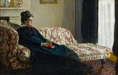 Méditation. Madame Monet au canapé, Camille Doncieux (1847-1879), première femme de l'artiste (Claude Monet) - Muzeo.com