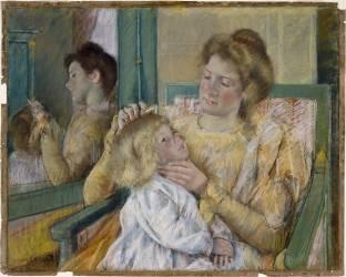 Mère peignant les cheveux de son Enfant (Mary Cassatt) - Muzeo.com
