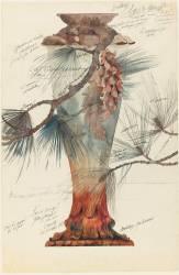 Modèle de vase en cristal à décor de branches de pin (Emile Gallé) - Muzeo.com