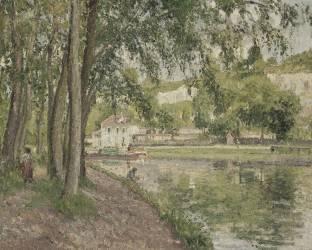 Moret, le canal du Loing (Seine et Marne) ou Chemin de halage à Saint Mammès (Camille Pissarro) - Muzeo.com