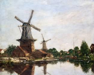 Moulins en Hollande (Boudin Louis-Eugène) - Muzeo.com