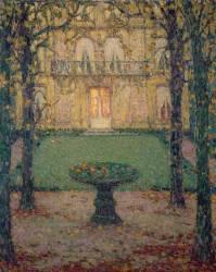 Musée Lambinet, la façade sur jardin, un soir d'automne (Henri Le Sidaner) - Muzeo.com