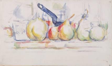 Nature morte ; pommes, poires et casserole (Paul Cézanne) - Muzeo.com