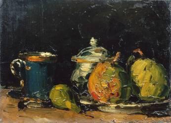 Nature morte : sucrier, poires et tasse bleue (Paul Cézanne) - Muzeo.com
