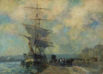 Navire norvégien dans le port de Rouen (Lebourg Albert) - Muzeo.com