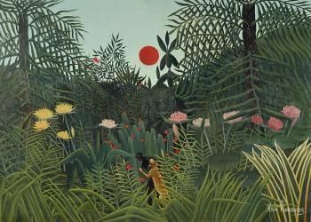 Nègre attaqué par un jaguar (Henri Rousseau (dit le...) - Muzeo.com