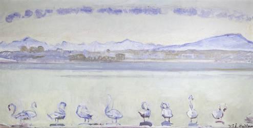 Neuf Cygnes devant un paysage montagneux (Ferdinand Hodler) - Muzeo.com