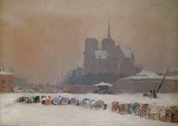 Notre-Dame de Paris sous la neige (Lebourg Albert) - Muzeo.com