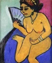 Nu à l'éventail (Kirchner Ernst Ludwig) - Muzeo.com