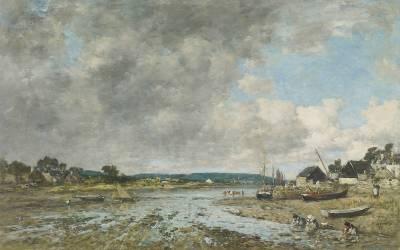 Paysage aux lavandières (Boudin Louis-Eugène) - Muzeo.com