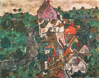 Paysage de Krumau (Egon Schiele) - Muzeo.com
