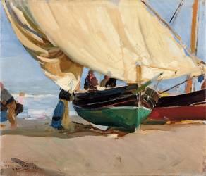 Pêcheurs et bateaux échoués, Valence (Joaquin Sorolla y Bastida) - Muzeo.com