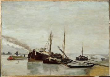 Péniches sur la Seine à Bercy (Guillaumin Armand) - Muzeo.com