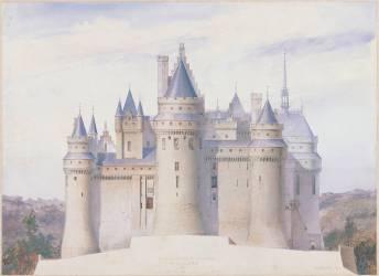 Pierrefonds, château, élévation extérieure sur la ligne C.D. du fossé (Viollet-Le-Duc Eugène) - Muzeo.com