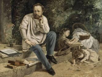 Pierre-Joseph Proudhon et ses enfants en 1853 (Courbet Gustave) - Muzeo.com