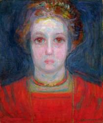 Portrait de fille en rouge (Mondrian Piet) - Muzeo.com