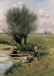 Près de la rivière (Emile Claus) - Muzeo.com