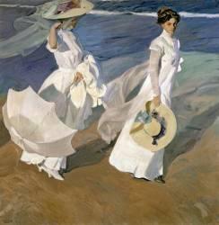Promenade au bord de la mer (Joaquin Sorolla y Bastida) - Muzeo.com