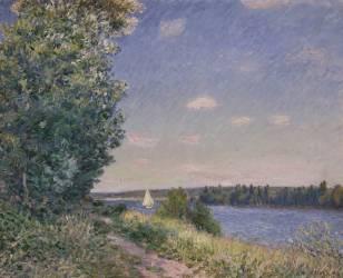 Sentier au bord de l'eau à Sahurs le soir (Sisley Alfred) - Muzeo.com