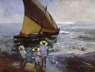 Sur la plage de Valence (Joaquin Sorolla y Bastida) - Muzeo.com