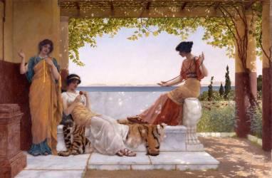 Sur le balcon (John William Godward) - Muzeo.com