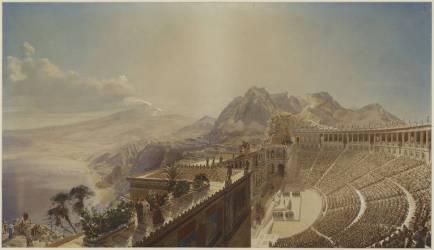 Théâtre antique,Taormine. Vue de l'édifice, projet de restauration (Eugène Viollet-Le-Duc) - Muzeo.com