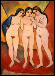 Trois Femmes Nues (Rouge et Orange) (August Macke) - Muzeo.com