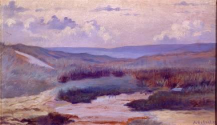 Une mare dans les dunes, le soir ; Siouville, plage de Diélette aux environs de Cherbourg (Alphonse Osbert) - Muzeo.com